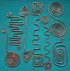 Hammered Copper Wire Geometric Bookmarks Handmade Set of 7 | JulieKindtStudio - Paper/Books on ArtFire