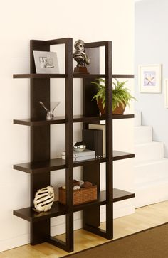 This is such a unique idea, and I think the way that these Solid Wooden Block Shelves fit snuggly into the corner is cool Bookshelf Design, Wall Shelves Design, Wood Shelves, Display Shelves, Display Stands, Ikea Furniture, Home Decor Furniture, Diy Home Decor, Furniture Design