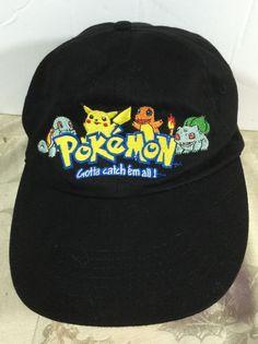 """Pokemon Black Cap Embroidered """"Gotta Catch 'em All"""" ajustable Official Nintendo #Nintendo"""