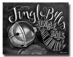Christmas Decor, Christmas Art, Chalkboard Art, Chalk Art, Jingle Bells, Jingle All The Way, Typography Print, Hand Lettering