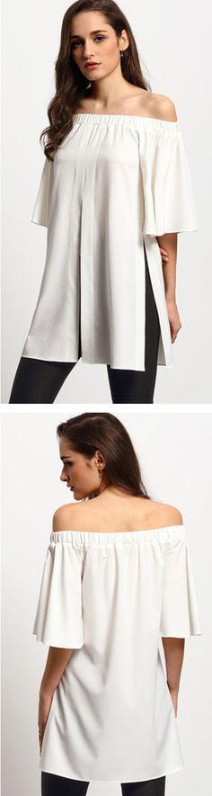 Beige Bell Sleeve Off The Shoulder Split Blouse