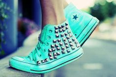 converses 2014 - mint and studs !