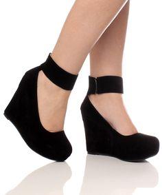 Ankle Strap High Black Wedge Platform Shoes.