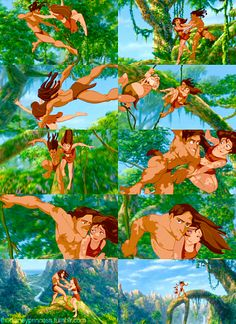 I love how Jane feels a little at ease at the end of Tarzan when swinging through the trees
