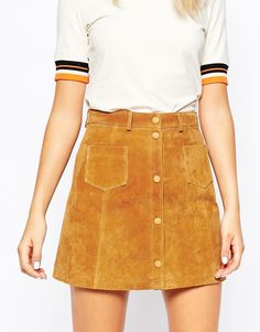 Image 3 ofMonki A-line 70'S Suede Skirt