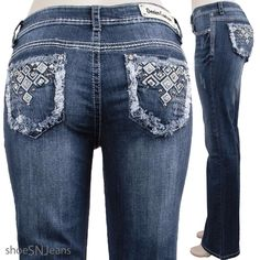 NEW Women Rhinestone Pockets Blue Wash Denim Couture Stretch Boot Cut Jeans   #DenimCouture #BootCut