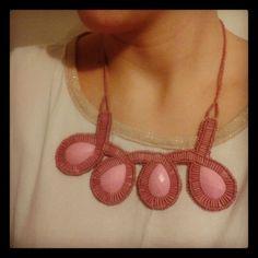Rose beadwork necklace -maxi colar, statement necklace bib necklace