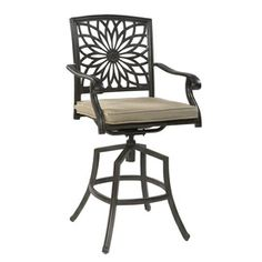 Garden Treasures Set Of 4 Willow Pass Brown Aluminum Swivel Patio Dining  Chairs With Solid