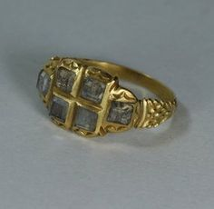 Distinctive Spanish Gold Crystal Ring 17th Century