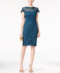 Tadashi Shoji Cap-Sleeve Embroidered Sheath Dress