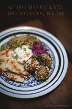 Sweet Potato Falafel Plate w/ Freekeh Tabouli, Pickle & Almond, Tahini Cream