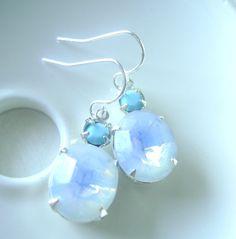 Mini Estate style dangle earrings with Opal by RachellesJewelryBox