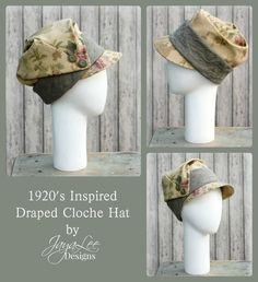 This lovely draped cloche hat was inspired by the dramatic deep cloche hats worn by ladies in the 1920s. The hat has a deep crown that