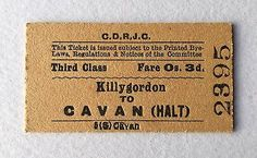Vintage-1960s-Irish-CDRJC-Railway-Train-Ticket-Killygordon-Cavan