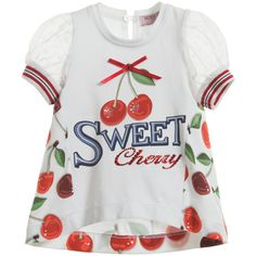 Girls very cute stretch cotton jersey A-line top byMonnalisa Bebe with cherries on the front and 'sweet cherry' in diamanté text. The back has a pretty contrasting all over cherry print with elegant lace sleeves.<br /> <ul> <li>95% cotton, 5% elastane (stretch cotton jersey)</li> <li>Machine wash (30*C)</li> </ul>