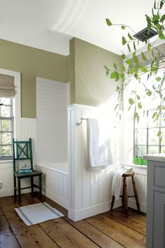 A Fresh Spa Like Green Paint Color Is Perfect For The Master Bathroom