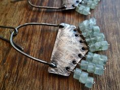 Rutilated prehnite and aged sterling silver dangle by Unics, $53.00