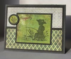 Basic Grey Oliver paper, ODBD Fishing Boy Stamp card. Operation Write Home Sketch #173. green and white