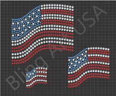 American Flag Rhinestone Downloads File Pattern USA Bling Flag SVG PLT EPS PDF Red White And Blue Stone Stars And Stripes System United States Of America Stencil Freedom Sticky Flock Color