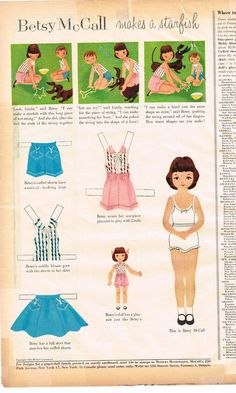 ORIGINAL Betsy McCall Paper Doll - Makes a Starfish 4-1962 #VintageBetsyMcCallPaperDoll