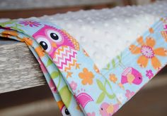 Hey, I found this really awesome Etsy listing at https://www.etsy.com/listing/125461236/minky-baby-blanket-owls-girl-pink-blue