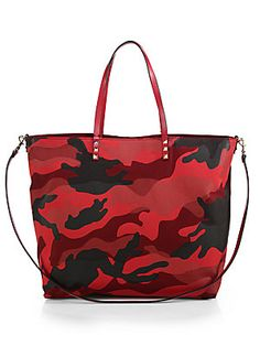 Valentino Camouflage Reversible Double-Handle Canvas Tote