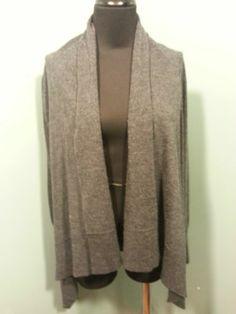 H & M Charcoal Gray Wool Acrylic Draped Open Front Cardigan Sweater XS $23 Free Shipping!