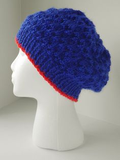 Hand knit blue hat, womens slouch hat in sapphire, blue beret