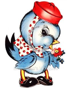 ~Vintage Retro Bluebird With Red Hat Waterslide Decals~ BIR827  #WaterslideDecals
