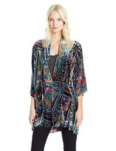 Johnny Was Women's Frame Velvet Kimono, Multi, XL