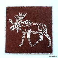 Moose Word Art Card Screen Print White on Brown by BlueJacaranda