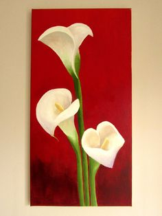 Items similar to ORIGINAL Lilies on red background - Calla Lily painting wall art, flowers - Acrylic on canvas (30 x 60cm) on Etsy
