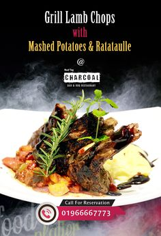 Charcoal BAR & BBQ Restaurant brings to you delicious Grill Lamb Chops with Mashed Potatoes & Ratataulle. Are you Looking for the Best RoofTop BBQ Restaurant at Uttara, Dhaka? Then Charcoal is the best place for you !! enjoy sight seeing and enjoy the Best BBQ Food also mouth watering kebabs & steaks. Time: 03.00 pm to 11.00 pm Reservation: 01966667652 / 01966667773. Make Prior Reservation to avoid last minute Disappointment.  #Charcoal #BBQ #Uttara #Mapleleaf #Dhaka #RoofTop Bbq Grill, Grilling, Best Bbq Recipes, Charcoal Bar, Grilled Lamb Chops, Wood Fuel, Bbq Food, Kebabs, Steaks