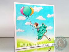 Uptown Girl Bentley gets Blown Away with Copic Cloudy Sky Background - www.markergeek.com