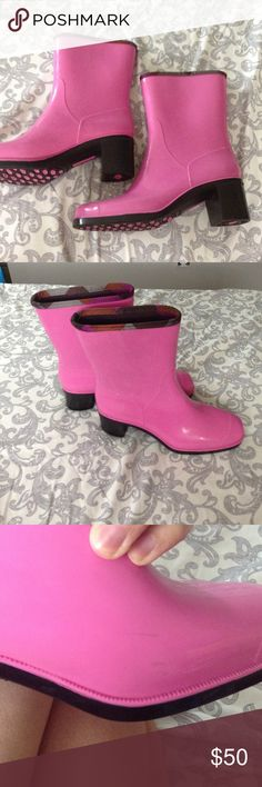 Emilio Pucci heeled rain boot Emilio Pucci rain boot good condition a few scuffs here but they were hard to capture in photographs nothing to noticeable. Emilio Pucci Shoes Winter & Rain Boots