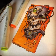 Creative skull illustration made by Russian illustrator artist Andrey Pridybaylo. The Skull design illustration is a part of series entitled Skully July Skull Sketch, Skull Drawings, Skull Artwork, Cartoon Drawings, Copic Marker Art, Skull Illustration, Artist Sketchbook, Airbrush Art, Character Design