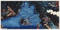 Gentoku leaping his horse into the gorge of Tan; the ox-boy (ushidôji) on the opposite bank, Kuniyoshi 1853 Japanese Prints, Japanese Art, Japanese Design, Kuniyoshi, Japanese Illustration, Portrait Illustration, Museum Of Fine Arts, Triptych, Free Illustrations