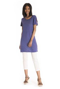 The Aurea Linen Tunic - women's spring summer fashion purple linen jersey tunic Fukushima, Linen Tunic, Spring Summer Fashion, Tights, Tunic Tops, V Neck, Purple, Fabric, Beautiful