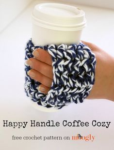 The Happy Handle Coffee Cozy makes a great gift - it's fun to crochet, and holds a special present! Here's a crochet coffee cozy tutorial video! Crochet Coffee Cozy, Crochet Cozy, Crochet Yarn, Free Crochet, Moogly Crochet, Coffee Cup Cozy, Quick Crochet, Coffee Cozy Pattern, Coffee Sleeve