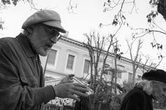 Athens Europe black capital city old people street photography white