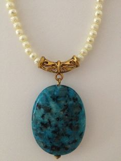 Cream Textured Pearls with Turquoise Marbled Stone Pendant Necklace