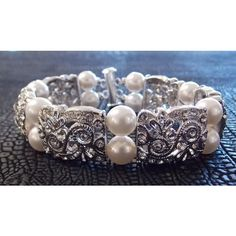 30% Off Bridal Jewelry 20's Gatsby Wedding Glam Circle Swarovski... ($48) ❤ liked on Polyvore featuring jewelry, bracelets, pearl jewelry, wedding bridal jewelry, rhinestone bangles, hinged bracelet and bridal party jewelry
