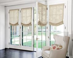 The Distinctive Qualities of Sheer Roman Shades : Sheer Roman Shades For French Doors. Sheer roman shades for french doors. Roman Shades French Doors, Blinds For French Doors, French Door Windows, French Door Curtains, Curtains With Blinds, Windows And Doors, Mini Blinds, Wood Blinds, Valances