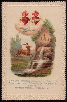 1870-1950:  Beautiful Catholic Holy Cards As a deer altered toward the source of living water, as well toward you, Lord, I flew away and I arrived