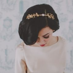 Love this gold branch headband! Whimsical yet sophisticated. Photo by Chellise Michael.