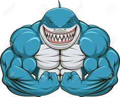 innagrom Muscular Shark Gym Home Decal Vinyl Sticker X Big Muscle Training, Shark Tattoos, Mascot Design, Great White Shark, Bodybuilder, Animal Drawings, Vector Art, Pop Art, Street Art
