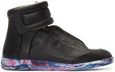 MAISON MARGIELA Black Future High-Top Sneakers. #maisonmargiela #shoes #sneakers