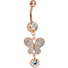 5929f79ebb5f62 Rose Gold Clear Gem Flitting Butterfly Dangle Belly Ring #bodycandy  #bellyring #butterfly $11.99