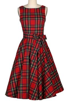Vintage Jewel Neck Sleeveless Plaid Belted A-Line Dress For Women
