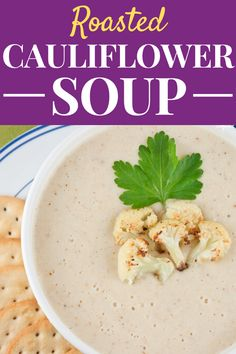 This Roasted Cauliflower Soup is packed full of roasted vegetables and its creamy but healthy made without any cream! Its the perfect comfort food to warm you up on a cold winter evening. Healthy Vegetable Recipes, Healthy Recipes For Weight Loss, Healthy Dinner Recipes, Healthy Soups, Meal Recipes, Crockpot Recipes, Healthy Food, Healthy Comfort Food, Healthy Meal Prep